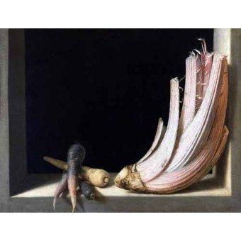 naturezas mortas - Quadro -Bodegón del cardo- - Cotan, Juan Sanchez