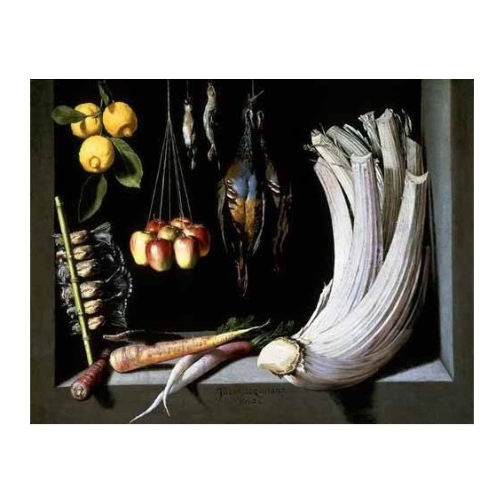 Still life paintings - Picture -Caza, fruta y hortalizas -