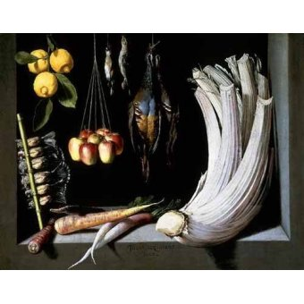 naturezas mortas - Quadro -Caza, fruta y hortalizas - - Cotan, Juan Sanchez
