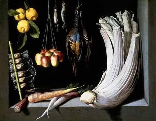 Still life paintings - Picture -Caza, fruta y hortalizas - - Cotan, Juan Sanchez