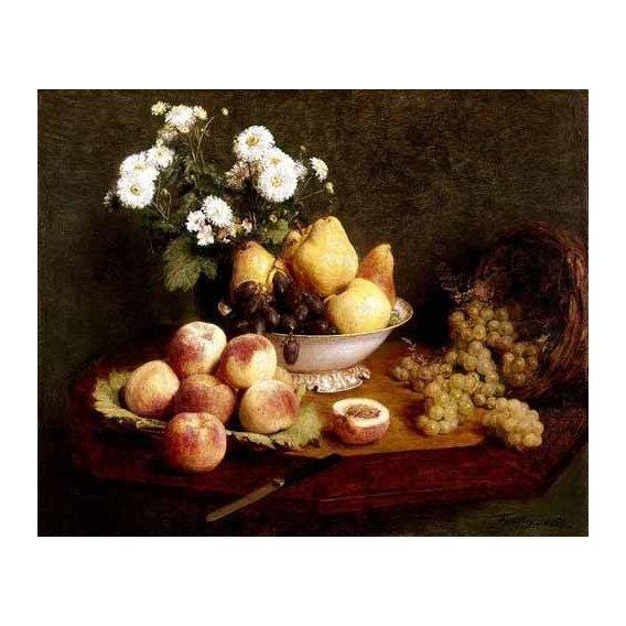 cuadros de bodegones - Cuadro -Flores y frutas-