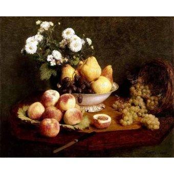 naturezas mortas - Quadro -Flores y frutas- - Fantin Latour, Henri
