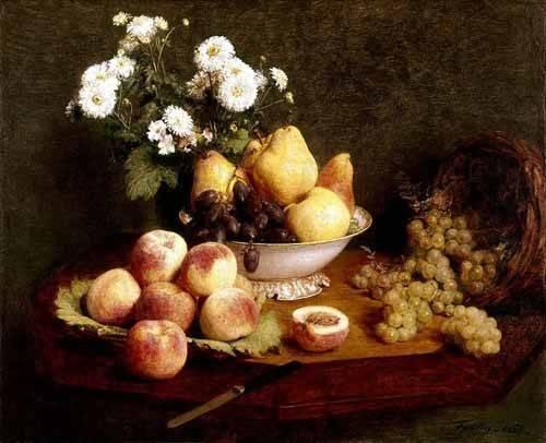 Still life paintings - Picture -Flores y frutas- - Fantin Latour, Henri