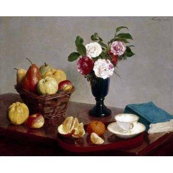 cuadros de bodegones - Cuadro -Bodegón con libro y taza de té- - Fantin Latour, Henri