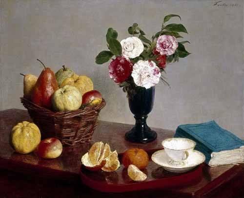 Still life paintings - Picture -Bodegón con libro y taza de té- - Fantin Latour, Henri
