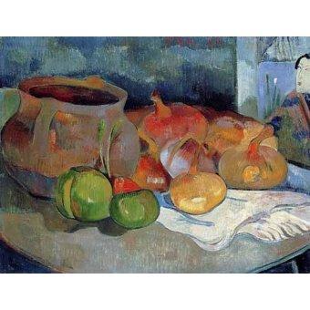 naturezas mortas - Quadro -Bodegón con cebollas y remolacha- - Gauguin, Paul