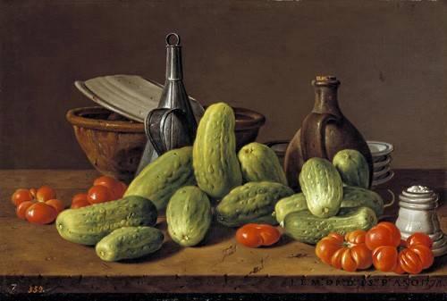 cuadros de bodegones - Cuadro -Pepinos y tomates- - Melendez, Luis