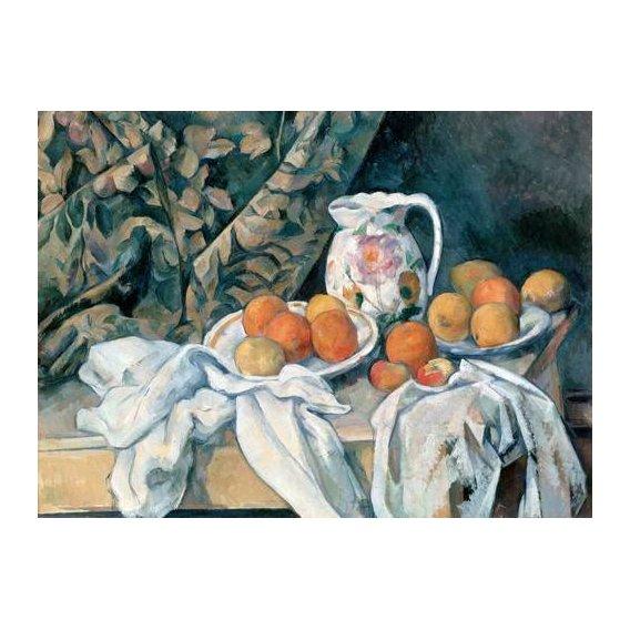 Still life paintings - Picture -Bodegón con cortina y jarra de flores-