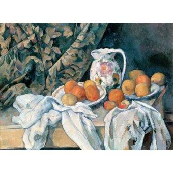naturezas mortas - Quadro -Bodegón con cortina y jarra de flores- - Cezanne, Paul