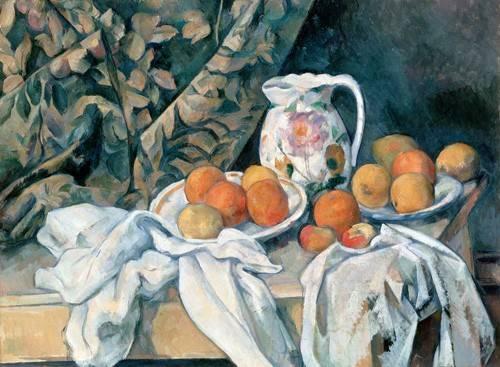 cuadros de bodegones - Cuadro -Bodegón con cortina y jarra de flores- - Cezanne, Paul
