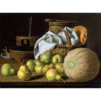 - Quadro -Bodegón con melón y peras- - Melendez, Luis