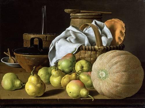 cuadros de bodegones - Cuadro -Bodegón con melón y peras- - Melendez, Luis