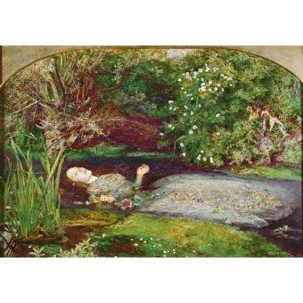pinturas de retratos - Quadro -Ofelia- - Millais, John Everett