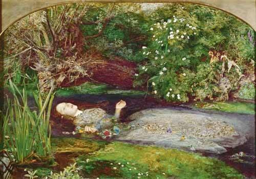 pinturas-de-retratos - Quadro -Ofelia- - Millais, John Everett