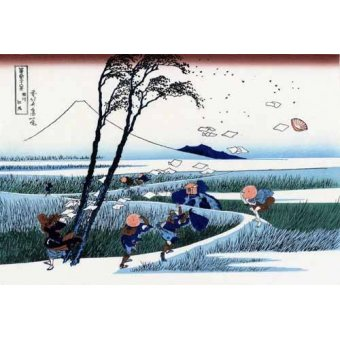 quadros étnicos e orientais - Quadro -Ejiri in the Suruga province- - Hokusai, Katsushika