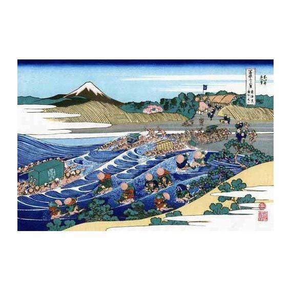 imagens étnicas e leste - Quadro -The Fuji from Kanaya on the Tokaido-