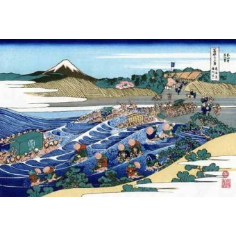 quadros étnicos e orientais - Quadro -The Fuji from Kanaya on the Tokaido- - Hokusai, Katsushika