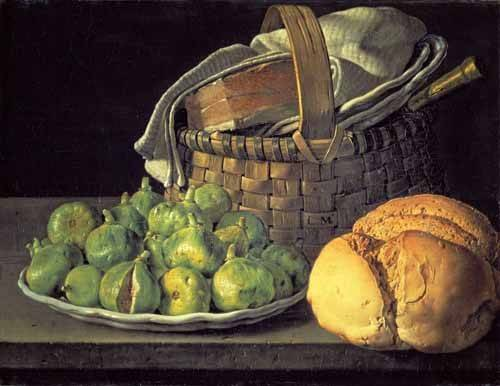 Still life paintings - Picture -Bodegón con higos- - Melendez, Luis