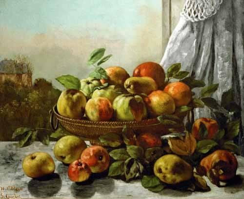 naturezas-mortas - Quadro -Bodegon con frutas- - Courbet, Gustave