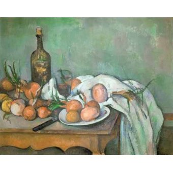 naturezas mortas - Quadro -Bodegon con cebollas- - Cezanne, Paul