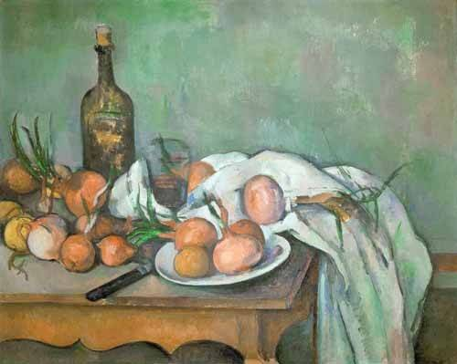naturezas-mortas - Quadro -Bodegon con cebollas- - Cezanne, Paul
