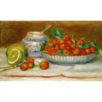 naturezas mortas - Quadro -Bodegon con fresas- - Renoir, Pierre Auguste