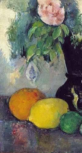cuadros de bodegones - Cuadro -Flores y frutas (1886)- - Cezanne, Paul