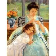 Quadro -1900 vers Young mother Sewing-