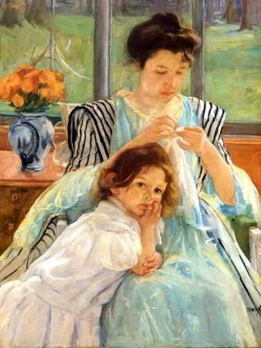 cuadros de retrato - Cuadro -1900 vers Young mother Sewing- - Cassatt, Marie