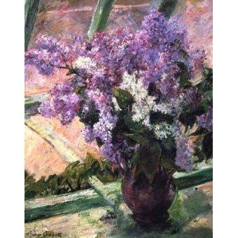 quadros de flores - Quadro -Lilacs in a Window, 1880- - Cassatt, Marie