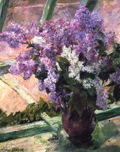 quadros-de-flores - Quadro -Lilacs in a Window, 1880- - Cassatt, Marie