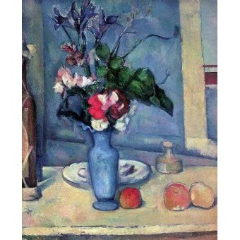 naturezas mortas - Quadro -El jarrón azul (1889-90)- - Cezanne, Paul