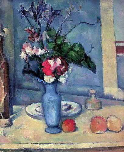 Still life paintings - Picture -El jarrón azul (1889-90)- - Cezanne, Paul