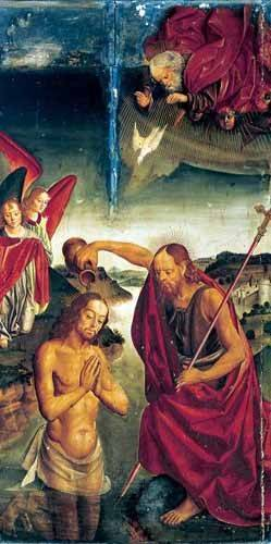 quadros-religiosos - Quadro -Bautismo De Cristo- - Berruguete, Pedro