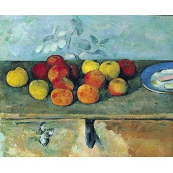 naturezas mortas - Quadro -Bodegón con manzanas y galletas(1880-82)- - Cezanne, Paul
