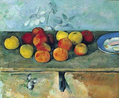 naturezas-mortas - Quadro -Bodegón con manzanas y galletas(1880-82)- - Cezanne, Paul