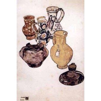 naturezas mortas - Quadro -Alfareria- - Schiele, Egon