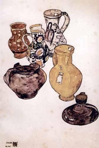 naturezas-mortas - Quadro -Alfareria- - Schiele, Egon