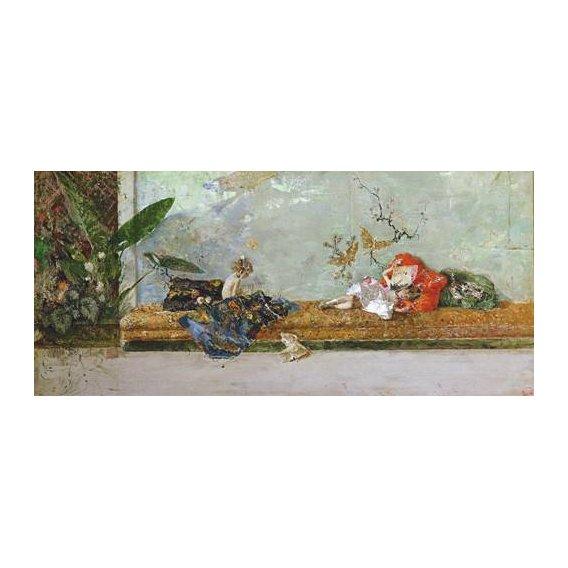 pinturas do retrato - Quadro -Los hijos del pintor en el salón japones-