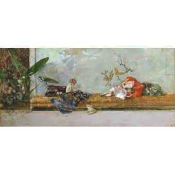pinturas de retratos - Quadro -Los hijos del pintor en el salón japones- - Fortuny y Marsal, Mariano