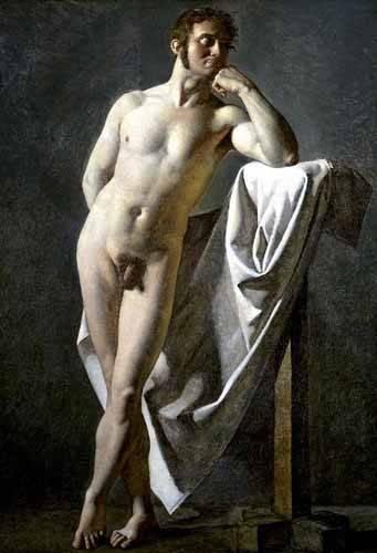 pinturas-de-retratos - Quadro -Estudio anatómico de un hombre- - Ingres, Jean-Auguste-Dominique