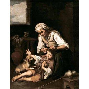 - Quadro -Vieja espulgando a un niño- - Murillo, Bartolome Esteban