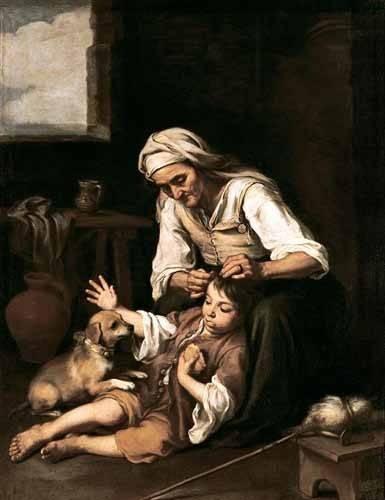 pinturas-de-retratos - Quadro -Vieja espulgando a un niño- - Murillo, Bartolome Esteban