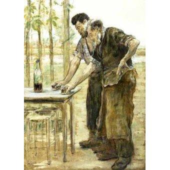 pinturas de retratos - Quadro -Herreros bebiendo- - Raffaelli, Jean Francois
