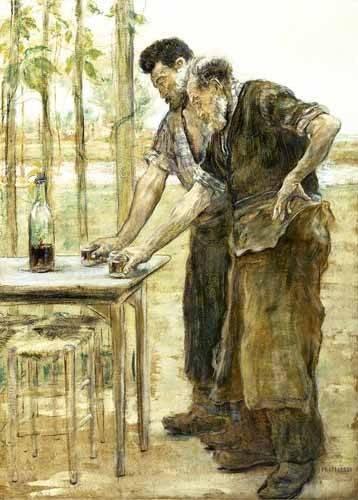 pinturas-de-retratos - Quadro -Herreros bebiendo- - Raffaelli, Jean Francois