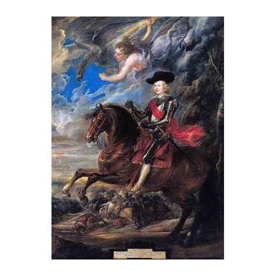 pinturas do retrato - Quadro -Don Fernando de Austria en la batalla de Nordlingen-