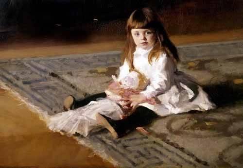pinturas-de-retratos - Quadro -Los hijos de Edward D. Boit- - Sargent, John Singer