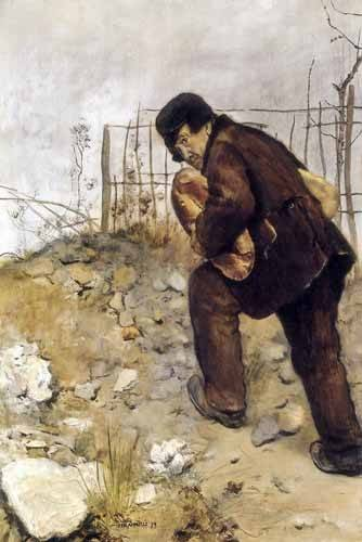pinturas-de-retratos - Quadro -L'homme aux deux pains- - Raffaelli, Jean Francois