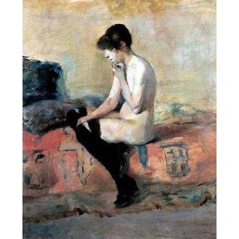 quadros nu artistico - Quadro -Mujer desnuda en un divan- - Toulouse-Lautrec, Henri de