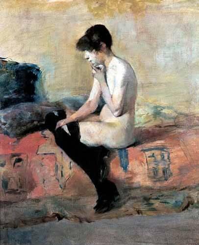 pinturas-de-retratos - Quadro -Mujer desnuda en un divan- - Toulouse-Lautrec, Henri de